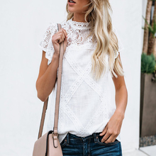 Women Lace Patchwork Top Casual Short Sleeve T-shirt Hollow Out Tops Tees Plus Size