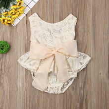 Baby Girl Sleeveless Princess Lace Fashion Bow Summer Casual Outfits Kids Toddler Party Tutu Dress Sundress Casual Clothing toddler baby girls summer princess fashion dress sleeveless sequined lace patchwork pink knee length tutu dress sundress 6m 5y