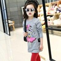 Trẻ em Con Gái Dài Tay T-Shirt Sơ Mi Hàn Quốc Phim Hoạt Hình In Trẻ Em Công Chúa Quần Áo Trắng Xám Bông
