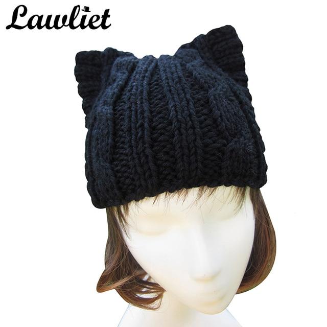 Sombreros de invierno para La Muchacha Mujeres Negro Oído Lindo Gato ...
