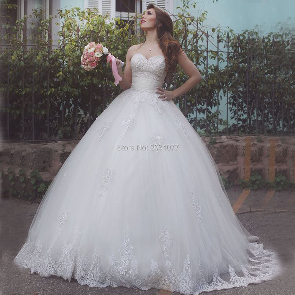 Lace Corset Wedding Dresses: Plus Size Ball Gown Wedding Dresses Puffy Sequined