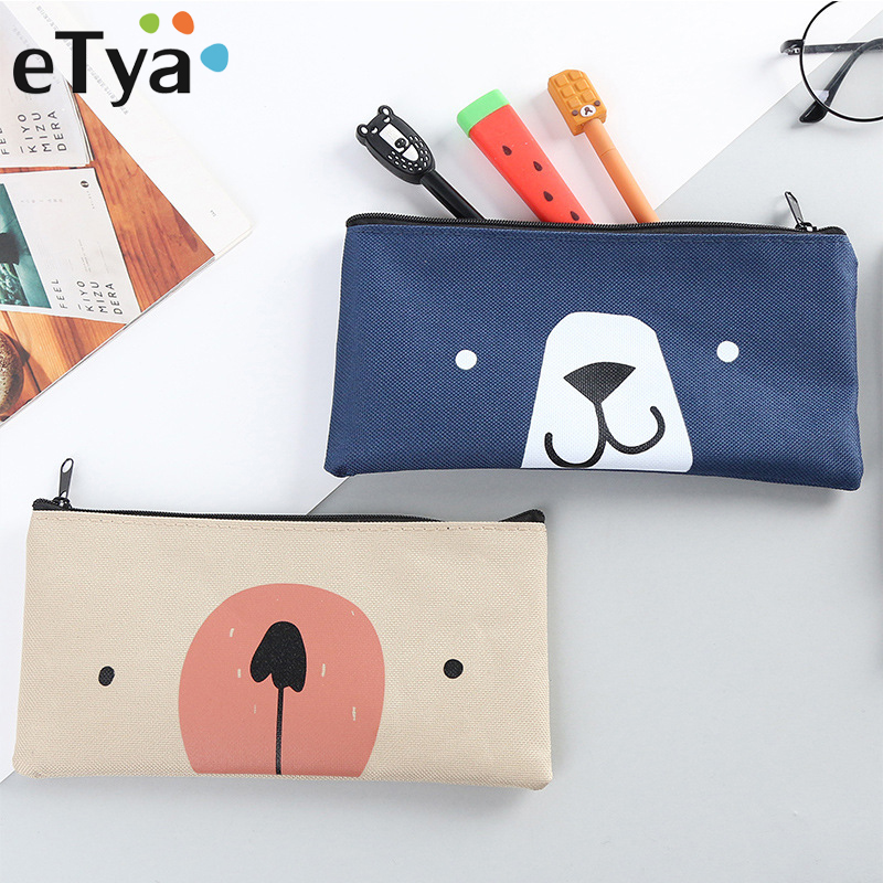 eTya Cartoon Small Cosmetic Bag for Women Lipstick Makeup Brush Eyeliner Cute Mini Animals Printing Pencil Case Makeup Bag cartoon doll style waterproof eyeliner for makeup cosmetic purple