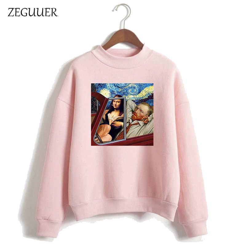Nuovo Van Gogh Felpe Arte Pittura Felpa Rosa Divertente Della Stampa Harajuku Moda Magliette e camicette Donne Vestiti Felpe Donne Streetwear