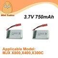 Brinquedos de Controle Remoto Peças De Reposição MJX Minitudou X300C X800 X500 Bateria LiPo 3.7 V 750 mAh 2 Pçs/lote