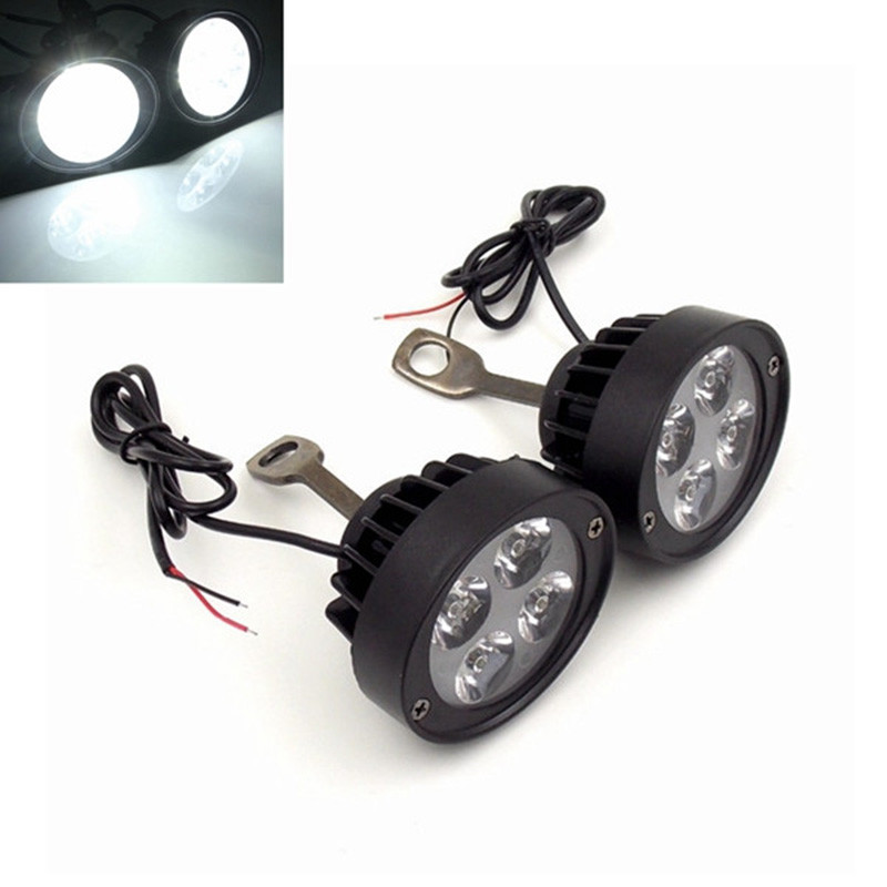 2pcs 12v-85v ultra-light waterproof motorcycle LED headlamps rearview mirror spotlight auxiliary lights