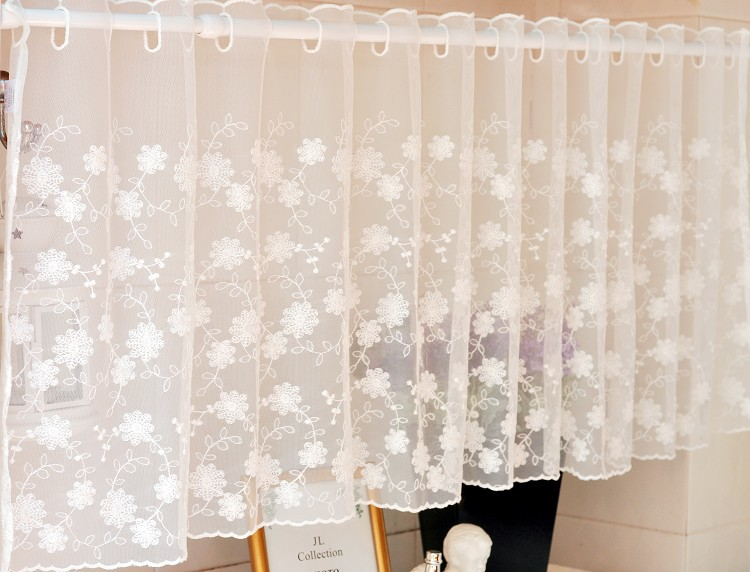 Free Shipping Pastoral Mesh Lace Fresh Lace Cabinet Coffee Short Curtain Kitchen  Curtains For Living Room
