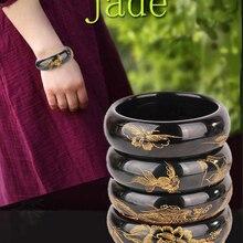 Чистый натуральный нефритовый браслет с чернилами Синьцзян, ручная работа, золотая рыбка, пион, нефритовый браслет, широкий выбор, хорошее ювелирное изделие из нефрита
