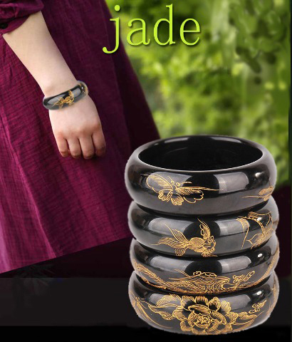 Pure natural Xinjiang ink jade bracelet Hand-carved goldfish peony jade bracelet Variety of choice Fine jade jewelryPure natural Xinjiang ink jade bracelet Hand-carved goldfish peony jade bracelet Variety of choice Fine jade jewelry