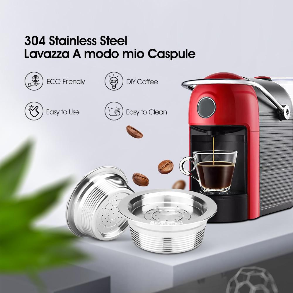 Filtros de café icafilas para lavazza cápsula de café recarregável de aço inoxidável reusável para lavazza a modo mio máquina