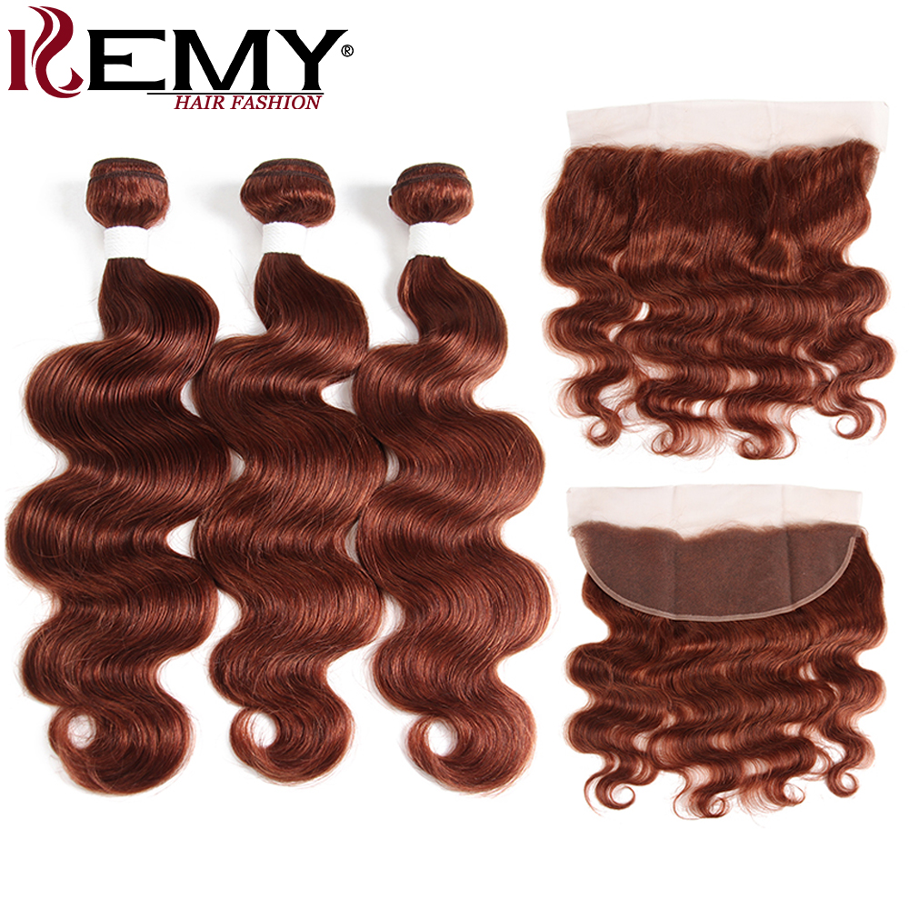 Brown Auburn Brazilian Body Wave Human Hair Bundles With Frontal 4 13 KEMY HAIR 3PCS Non