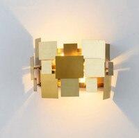 Abajur Wandlamp современного искусства Нержавеющаясталь квадратной пластины деформируемого бра моды Спальня прикроватной тумбочке светильники