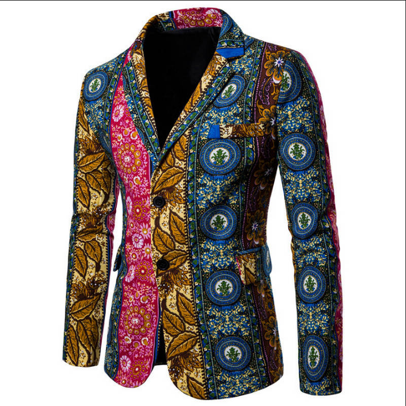 Suit Jacket Flower-Blazer Linen Male Casual Single-Breasted New Autumn Man Mianma Size-M-4xl