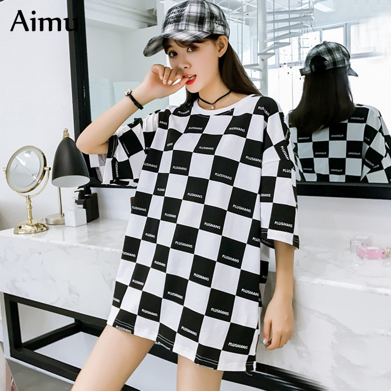 korean summer Women tshirt Short Sleeve plaid   T     Shirt   Casual big size   t  -  shirts   Loose Harajuku streetwear Tops Female tee   shirt