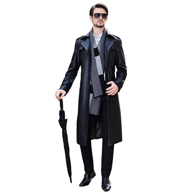 De alta Calidad de Los Hombres Abrigos de Moda Envío gratis Real Cuello de Piel Chaqueta de Cuero de piel de Oveja de Moda de Cuero Chaquetas de Los Hombres Calientes venta