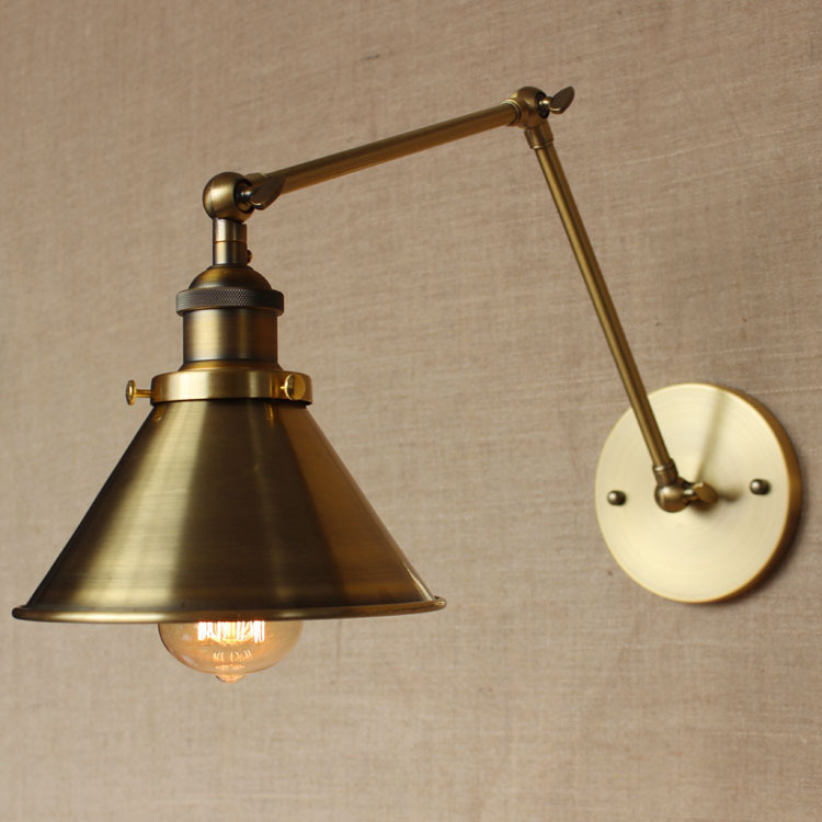 American country vintage bedroom brass bedside wall lamp long arm wall scone lights gold/bronze lamp body ron lamp led wall lamp american creative fashion led the study bedroom mirror before the long arm of the head of a bed wall lamp wrought iron long arm