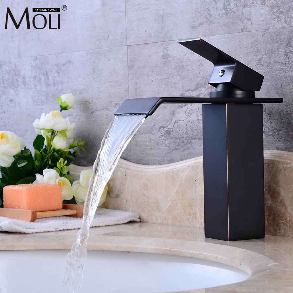 Square Waterfall Basin Sink Faucet Water Tap Oil Rubble Bronze Faucets Hot and Cold Mixer Crane