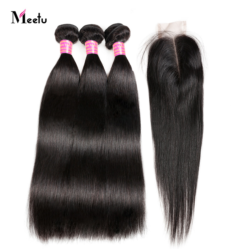 Brazilian Straight Hair Bundles With Closure Middle Part Sew In Hair Weave With Closure Meetu Non