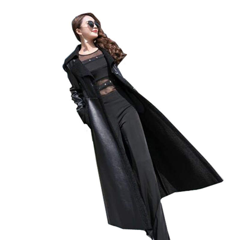 Long leather women's jackets winter new slim Show thin fashion lapel leather Overcoats warm lamb hair women's basic coats AS721-in Leather Jackets from Women's Clothing    2