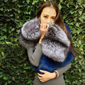 Hairy Faux Fox Fur Shaggy Warm Long Scarf Stitching Color Collar Autumn Winter Women Faux Fur Collar Shawl Cap Scarves 2015 New
