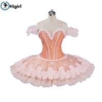 Pink Peach Ballet Tutu Romance Ballerina Pancake Platter Tutu Women Professional Ballet Tutu Classical BT9074