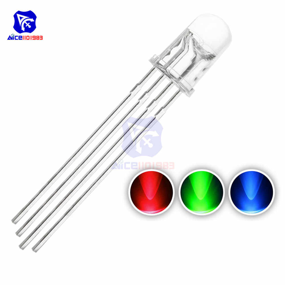 10PCS/Lot 4 Pin RGB LED Diode Lights Red/Green/Blue Clear Round Common Cathode Lighting Bulb Electronics Components