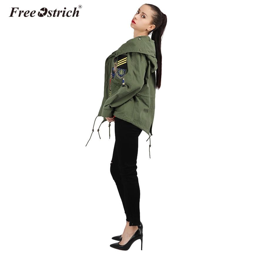 Taille À Libre Veste Hoodies Militaire Femmes Mujer Hiver Ceinture Chaqueta Pardessus Large Bombardier Army Manches Autruche Broderie Green Longues C86WPqC