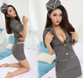 Sexy Lingerie Policewomen Cosplay Gray Game Uniform Club Costumes Set Women Underwear   2017 Hot Babydoll