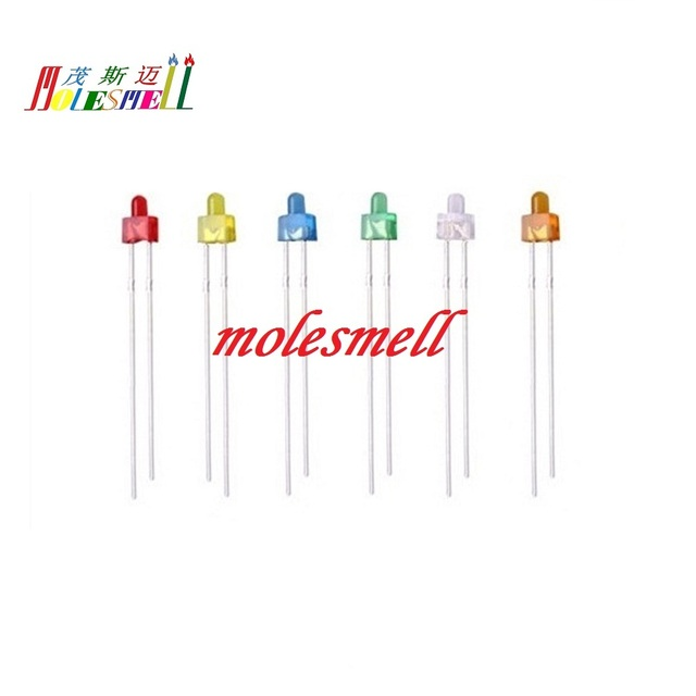10pcs multicolor 2mm Round top led diffused Red Yellow Blue Green White Orange diffused lens LED wide angle light lamp diodes