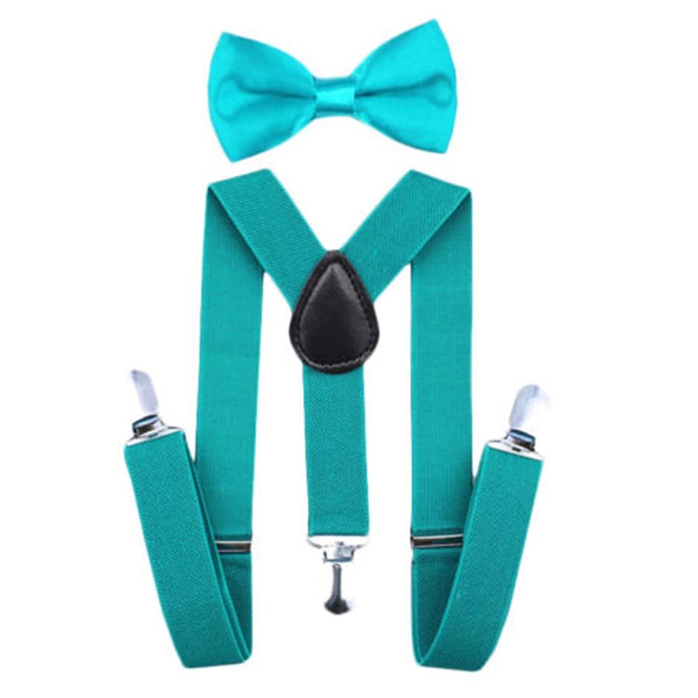 Регулируемая мода мальчиков хлопчатобумажный галстук вечерние галстуки подарок высокое качество для маленьких мальчиков малышей бабочка галстук-бабочка+ на подтяжках комплект одноцветное Цвет - Цвет: Peacock blue