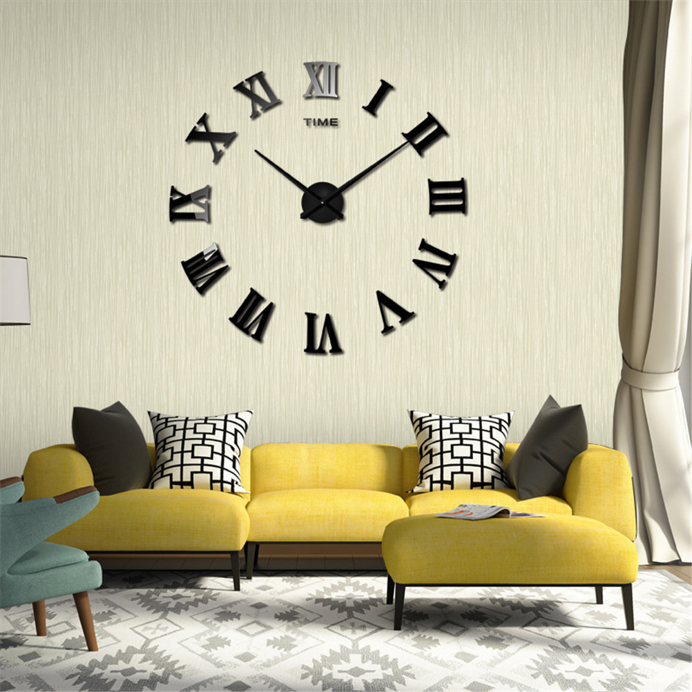 2 Colors Large Roman Mirror Fashion Modern Quartz Clocks Living Room Diy Wall Clock Watch New Home Decor On Sale