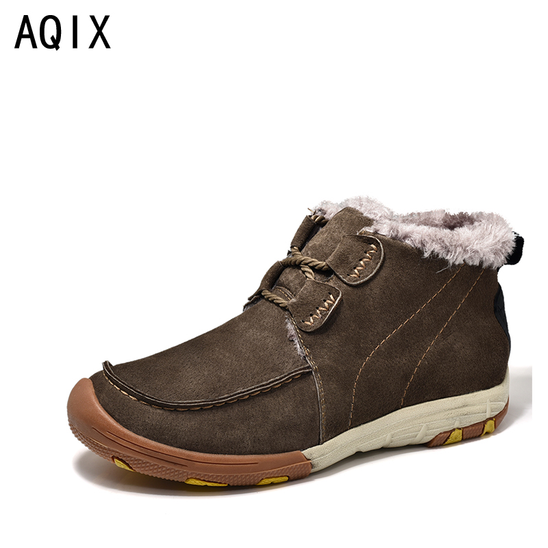 Winter Fur Warm Snow Boots Men Shoes Men Adult Casual Ankle boots Rubber Non Slip Outdoor Men Boot Big Size 38-44 Blue Brown