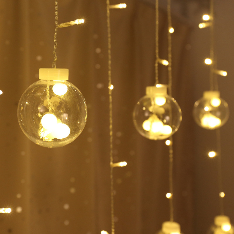 Transparent Globes Ball Colorful Led String Lights Curtain