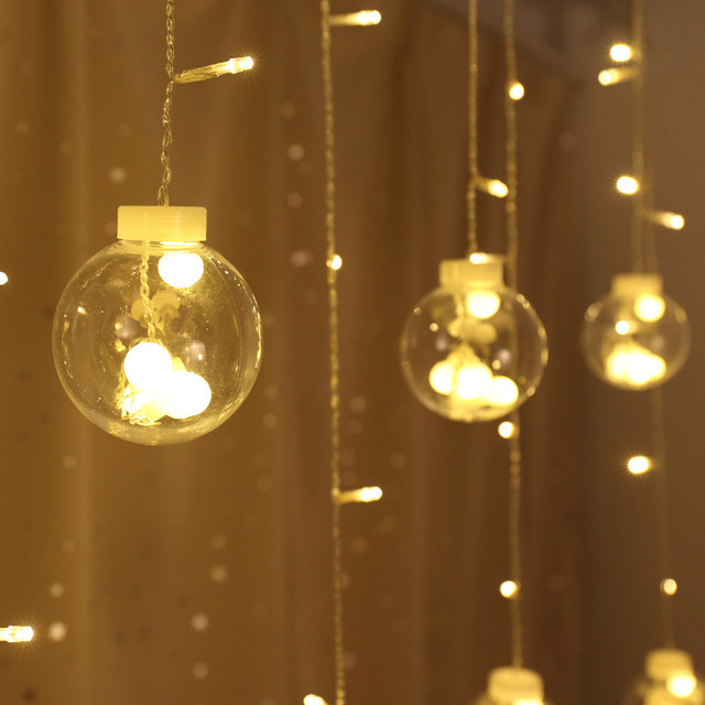 Transparent Globes Ball Colorful LED String Lights Curtain Indoor ...