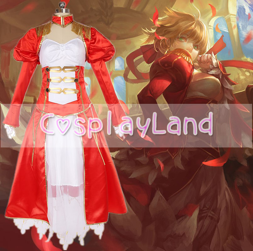FateExtra Saber Cosplay Costume Custom Made Carnival Halloween Sexy Costume Custom Made Nero Red Saber Extra Dress Costumes