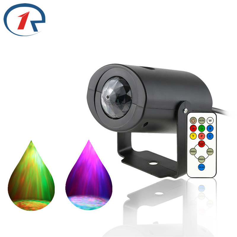 ZjRight IR Remote Water Wave Projector Led Stage Light RGBW colorful Flash effect KTV Party Disco Bar dj ballroom, home lighting zjright smart bluetooth speaker led bulb dynamic flame effect music lamp e27 ir remote full color rgbw led lamp home lighting