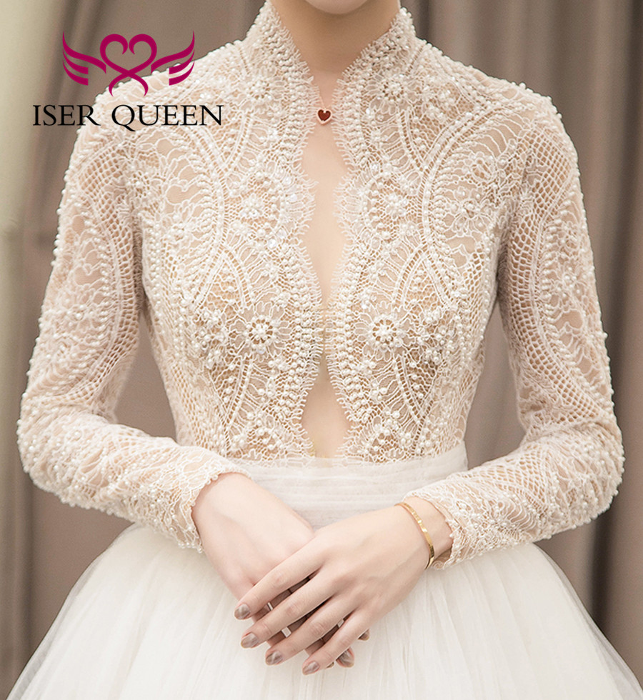 High V Neck Europe Vintage Lace Wedding Dress 2020 A Line Bride Dress Long Sleeve Pearls Beading Vestido De Noiva WX0126