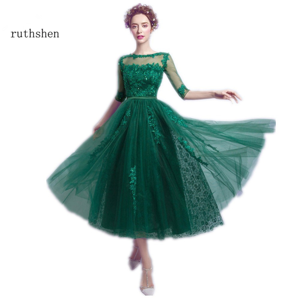 ruthshen Emerald Green Prom Dresses 2017 Cheap Half Sleeves Lace Appliques Beaded Tea Length Formal Cocktail Party Dress