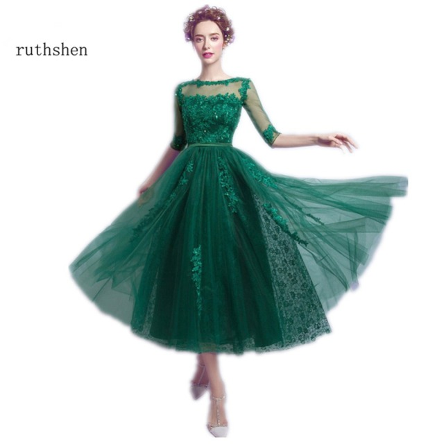 ffa5767b7a ruthshen Emerald Green Prom Dresses 2017 Cheap Half Sleeves Lace Appliques  Beaded Tea Length Formal Cocktail Party Dress