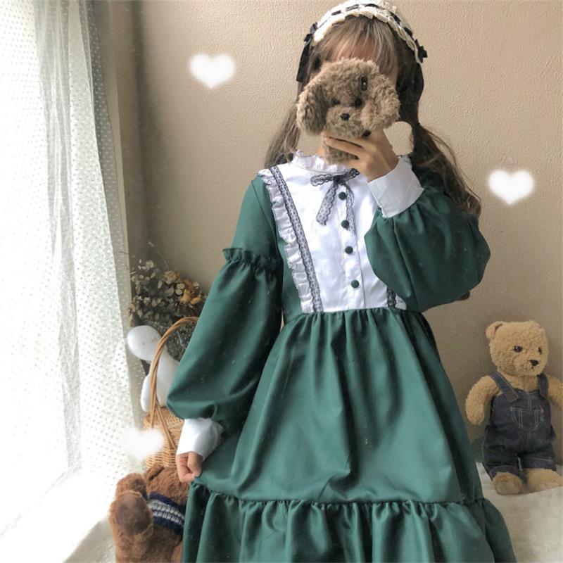 Women's Dresses Vintage Ladies Kawaii Ulzzang Color Block Long Sleeve Cute Dress Female Cute Vintage Harajuku Clothing For Women