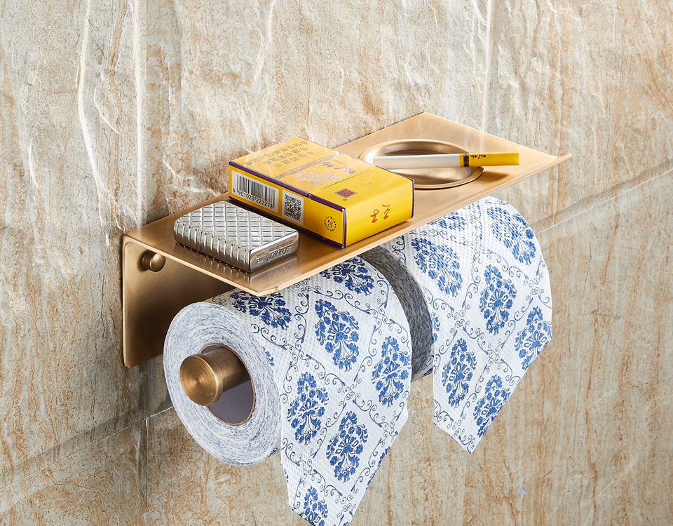 BAIANLE Bathroom Toilet Paper Holder with Shelf Hooks Creative Black Paper Towel Rack Wall Mounted Lengthen Gold Roll Paper Rack