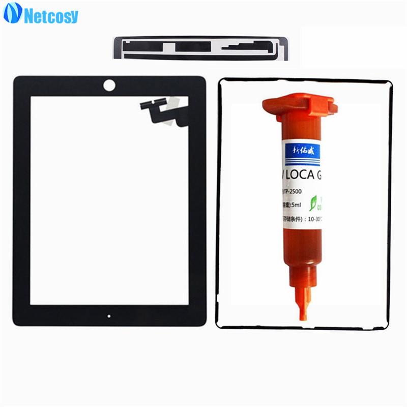 Netcosy Touch Screen for iPad 2 A1395 A1396 A1397 glass tablet touch panel White/Black with Adhesive Tape and 5ml UV glue