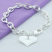 925 Silver Fine Jewelry Bracelet Valentines Day Gift Women Love Heart Lovers Charms Bracelets Bangles
