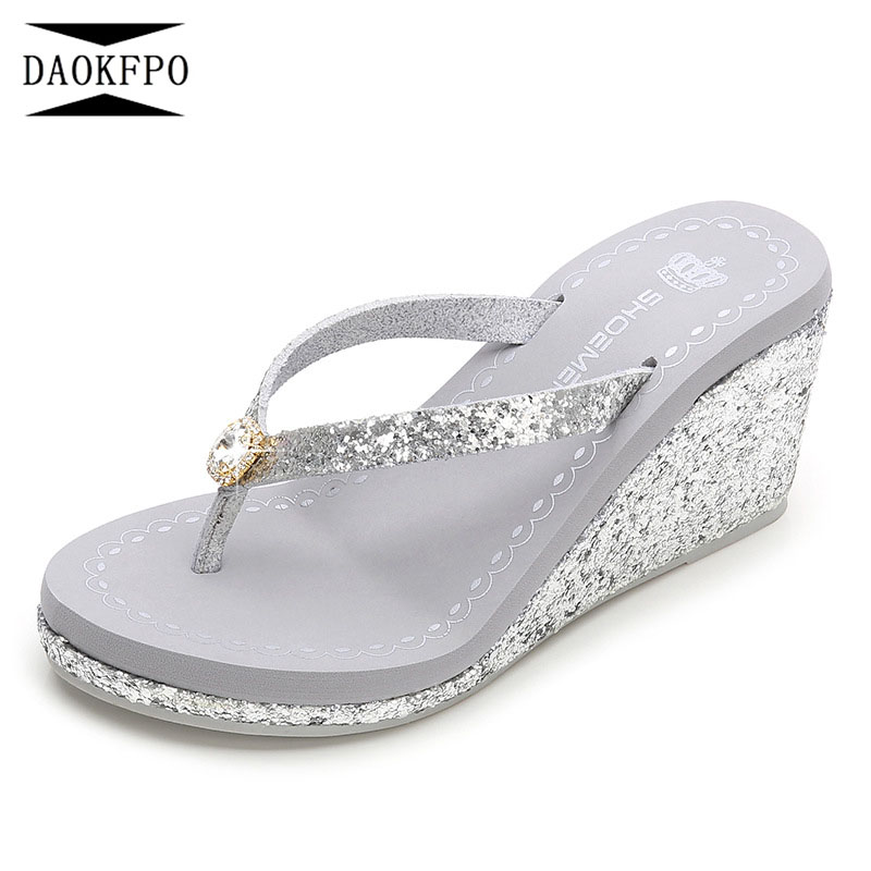 acc6c6579a64 DAOKFPO 2018 New Design Summer Glittering Thick Sole Women s Slippers Slope  With non-slip High Heel lip-flops Shoes NVT-14
