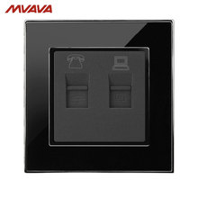 MVAVA Universal Phone and Computer Wall Socket Luxury Mirror Black Plug Port RJ45 PC Network + RJ11 TEL Outlet Free Shipping