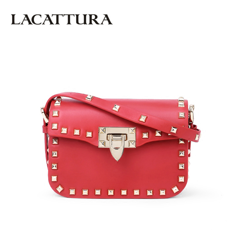 LACATTURA Luxury Women Leather Handbags Designer Rivet Messenger Bags Ladies Small Shoulder Bag Summer Fashion Clutch Cross body genuine leather women messenger bags rivet small flap shoulder bag crossbody bags designer brand ladies female clutch hand bags