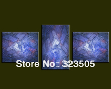 Large Purple blue 3 piece acrylic heavy oil textured hand painted knife paint oil painting on canvas for living room decoration