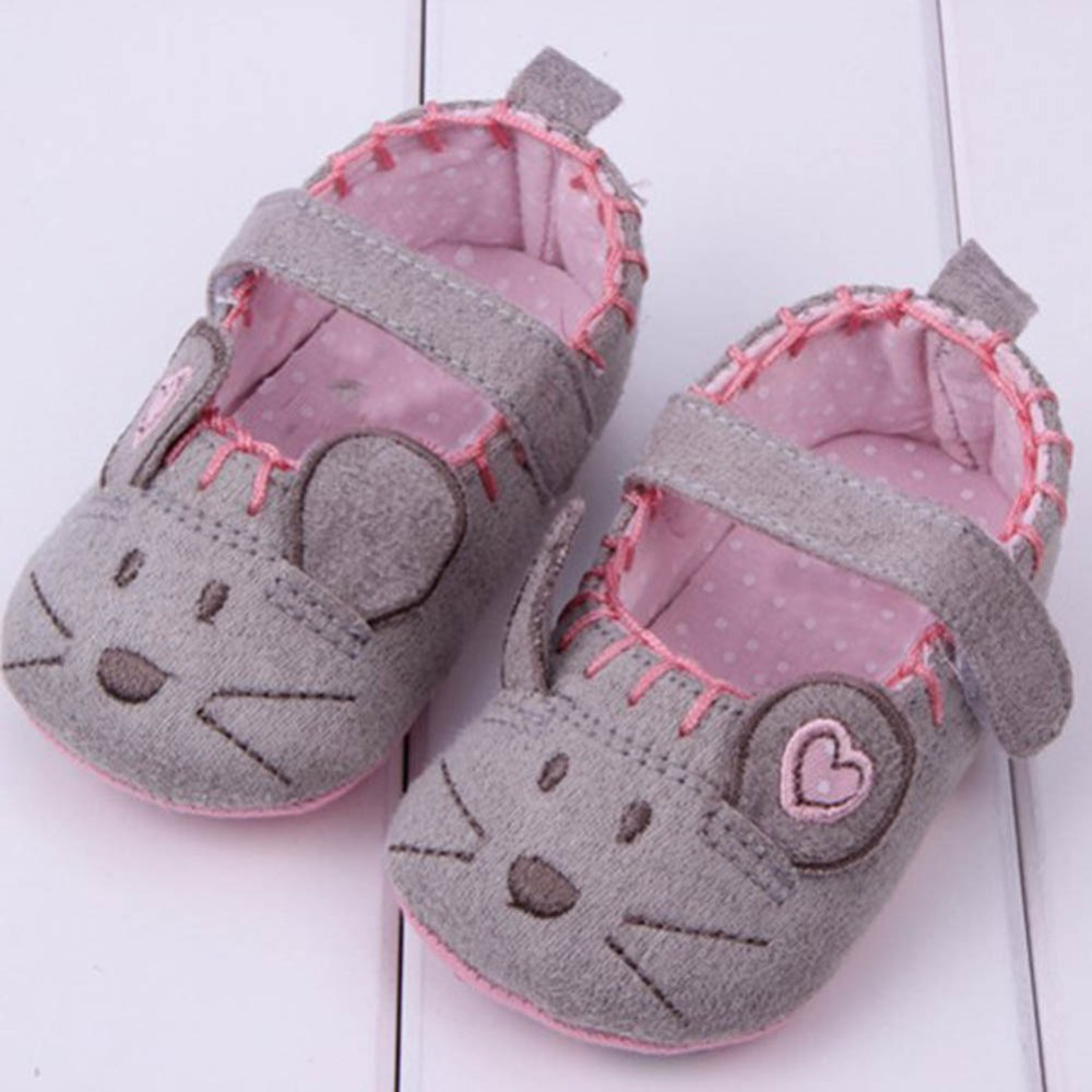 0 12M Newborn Baby Little Mouse Crib Shoes Boy Girls Casual Non Slip Shoes O47