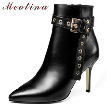 Meotina Winter Ankle Boots Women Natural Genuine Leather Zip Thin Heel Short Boots Buckle Super High Heel Shoes Lady Fall 34-39 цены онлайн