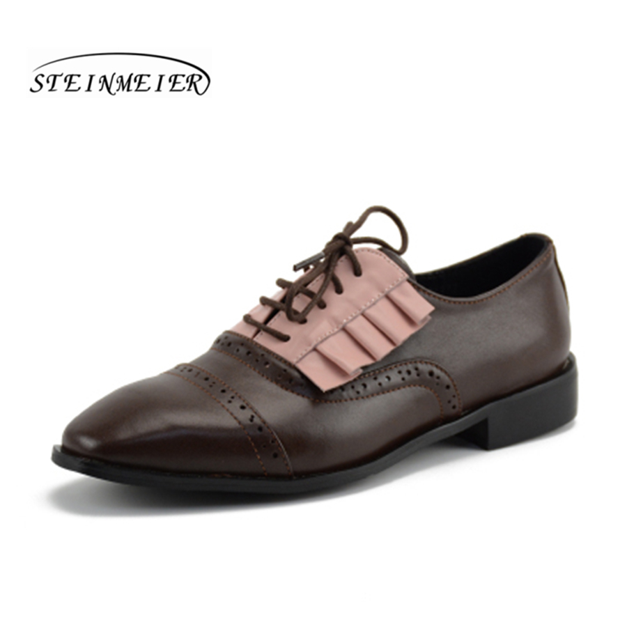 Women Genuine Leather Flat Oxford Shoes Designer Vintage Handmade Pink Black Flower Oxfords Shoes For Women