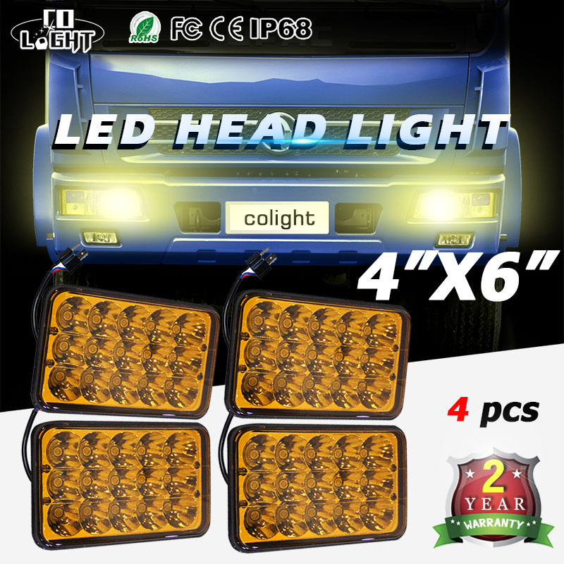 CO LIGHT 4pcs 4X6 Automobile Fog Lamp 45W 2000k 3000k Auto Led Daytime Running Light for